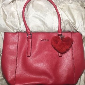 Red leather GUESS BAG WITH POM POM
